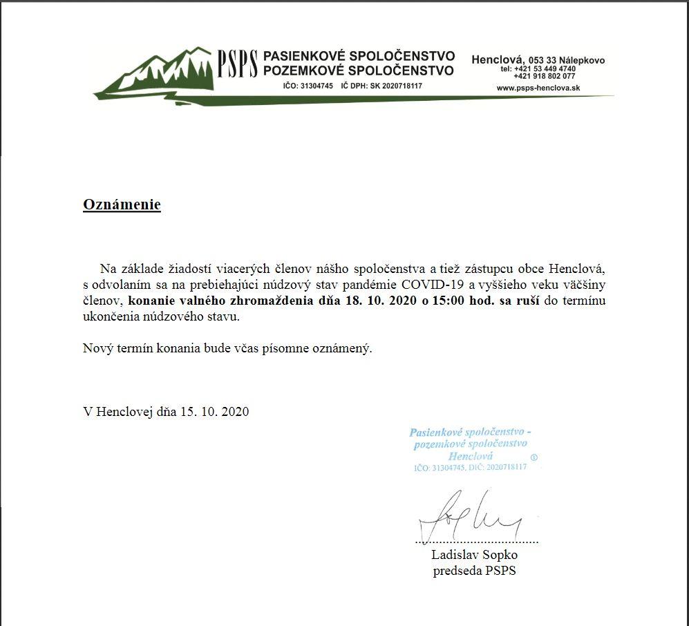 Oznamenie o zruseni VZ_18102020
